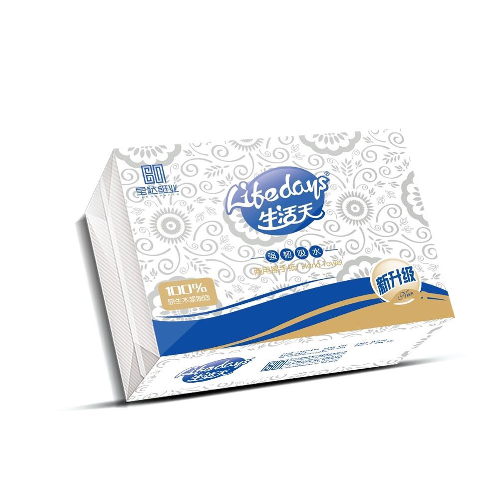 生活天BS701 商用擦手纸200抽 原生木浆纸 强韧吸水